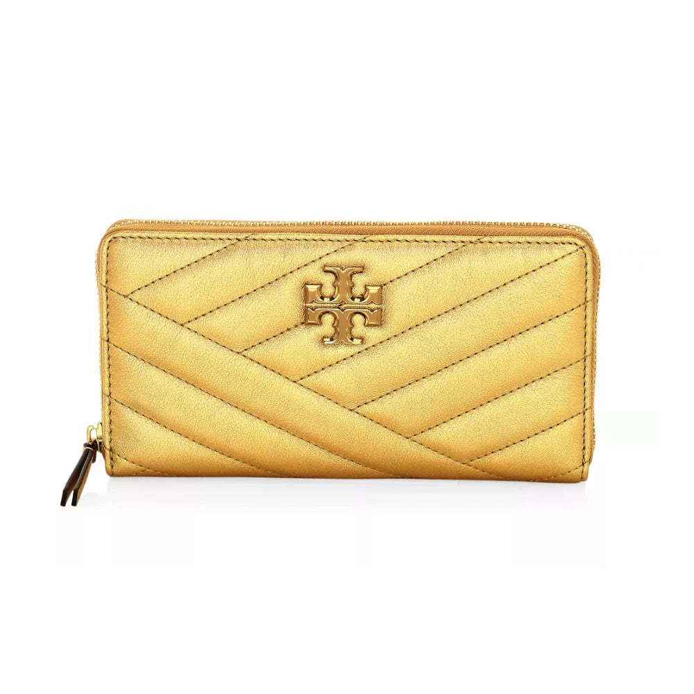 Tory Burch 64548 Kira Chevron Metallic White Gold Leather Wallet