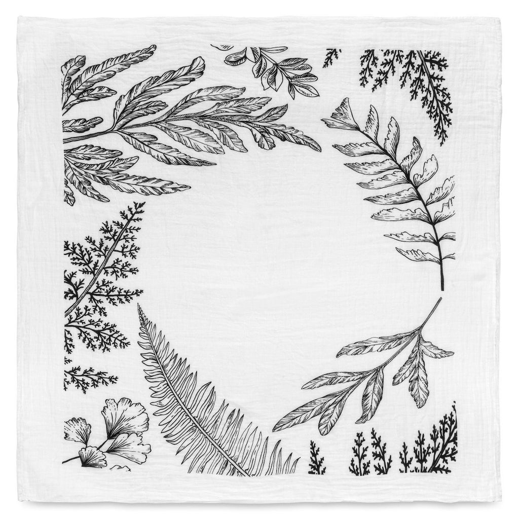 organic cotton muslin swaddle blanket-fern wreath