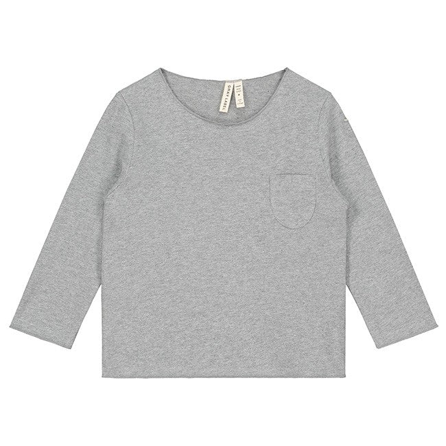 l/s pocket tee in grey melange