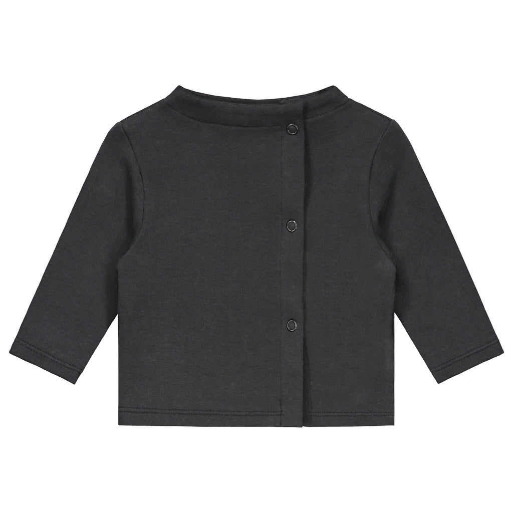 baby button cardigan in nearly black