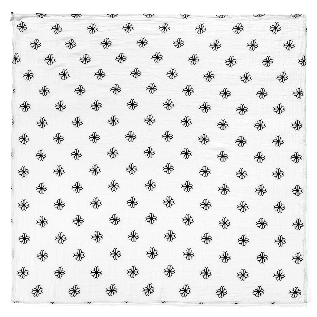organic cotton muslin swaddle blanket-snowflakes