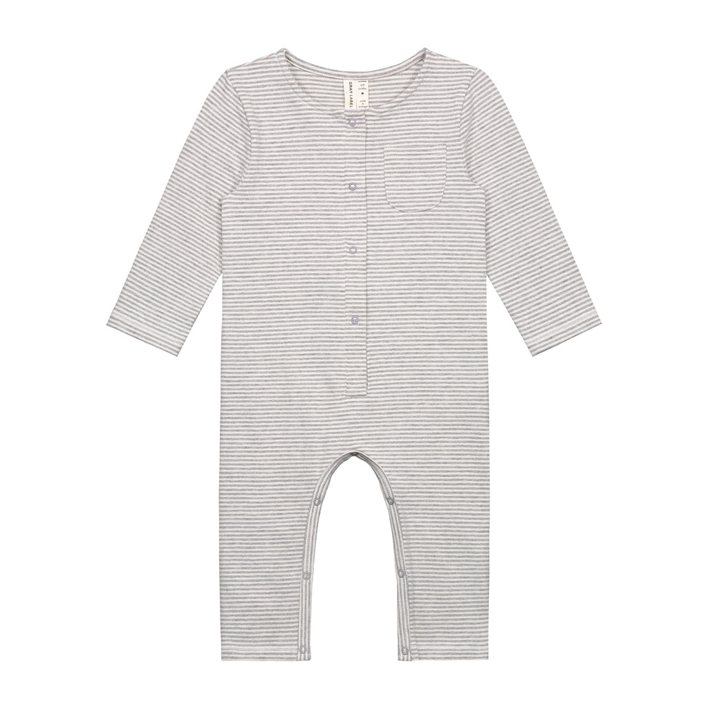 baby /s playsuit  in grey melange|cream stripe