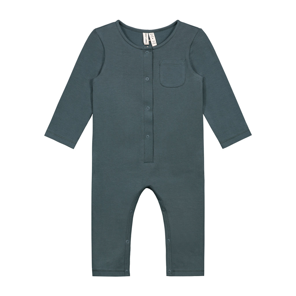 baby ls playsuit in blue grey