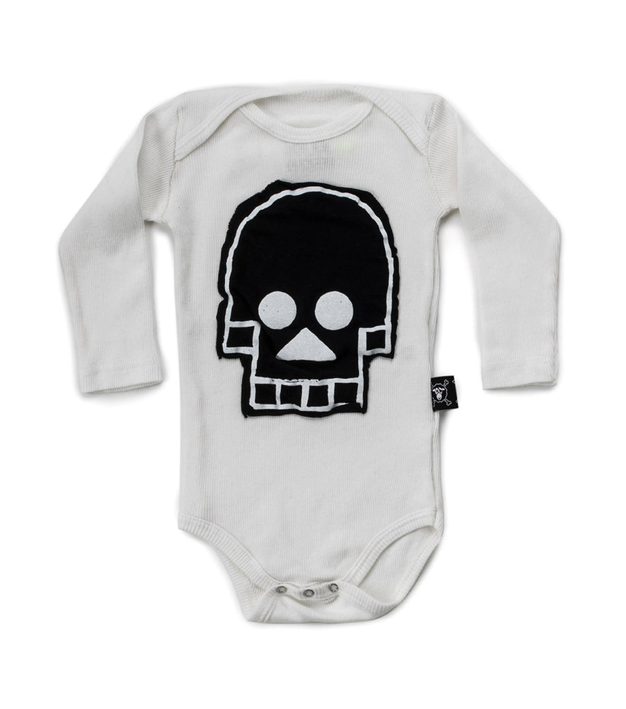 skull patch bodysuit in white