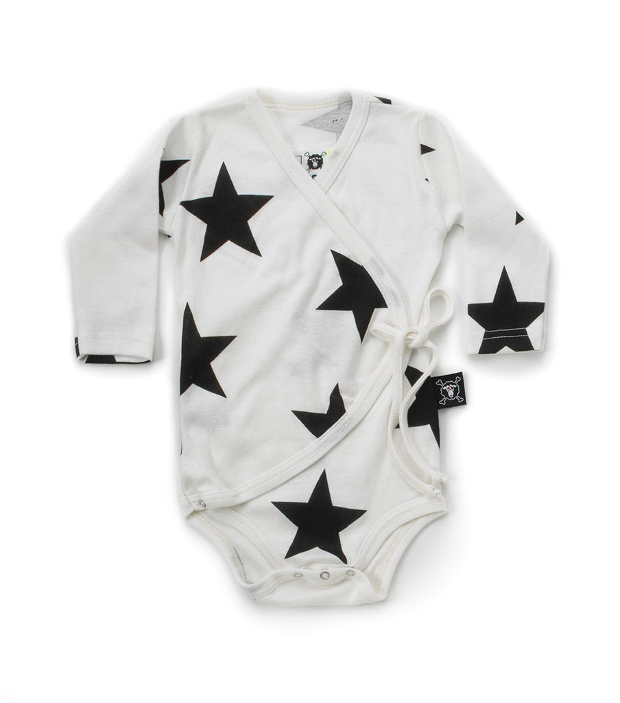 star envelope bodysuit in white