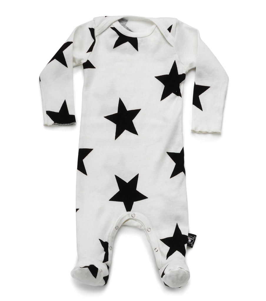 star footed overall in white