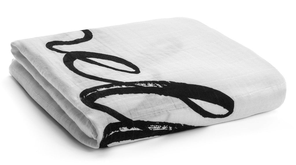 organic cotton muslin swaddle blanket-hello world
