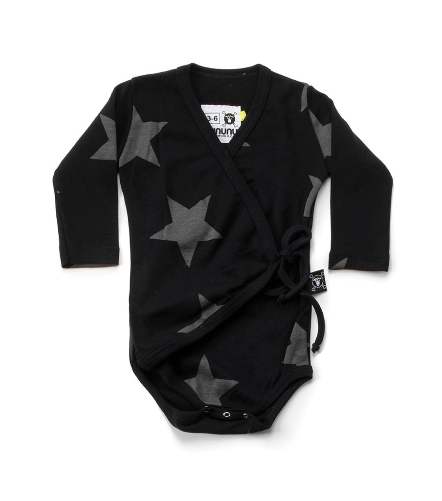 star envelope bodysuit in black