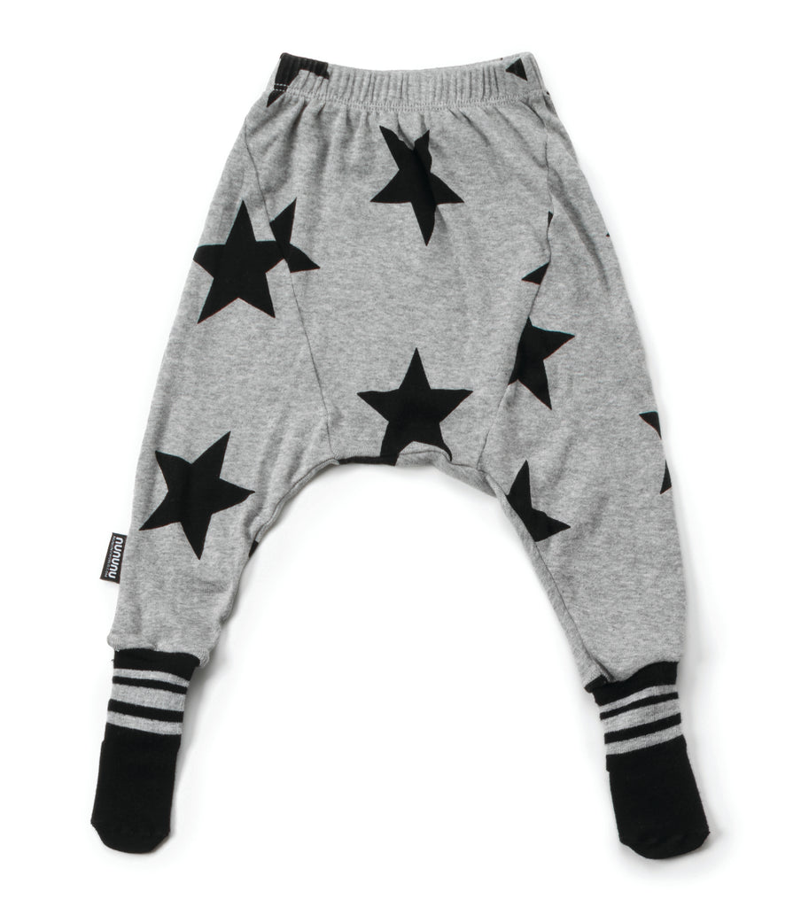 star footed pants in heather grey