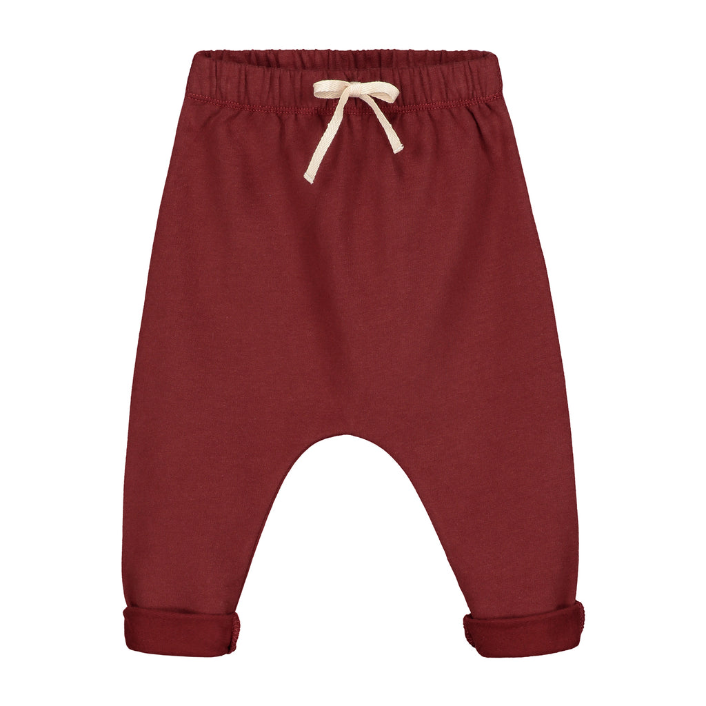 baby pants in burgundy