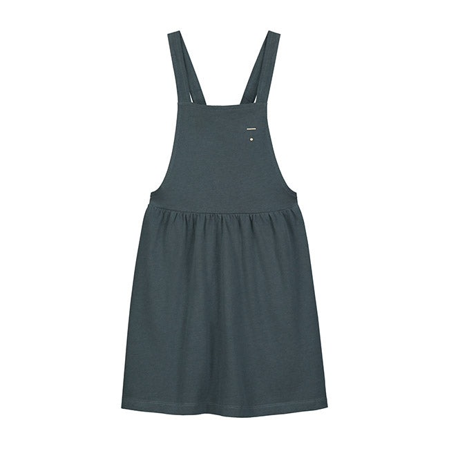 pinafore dress in blue grey