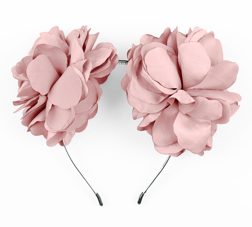 large flower ear in dusty pink