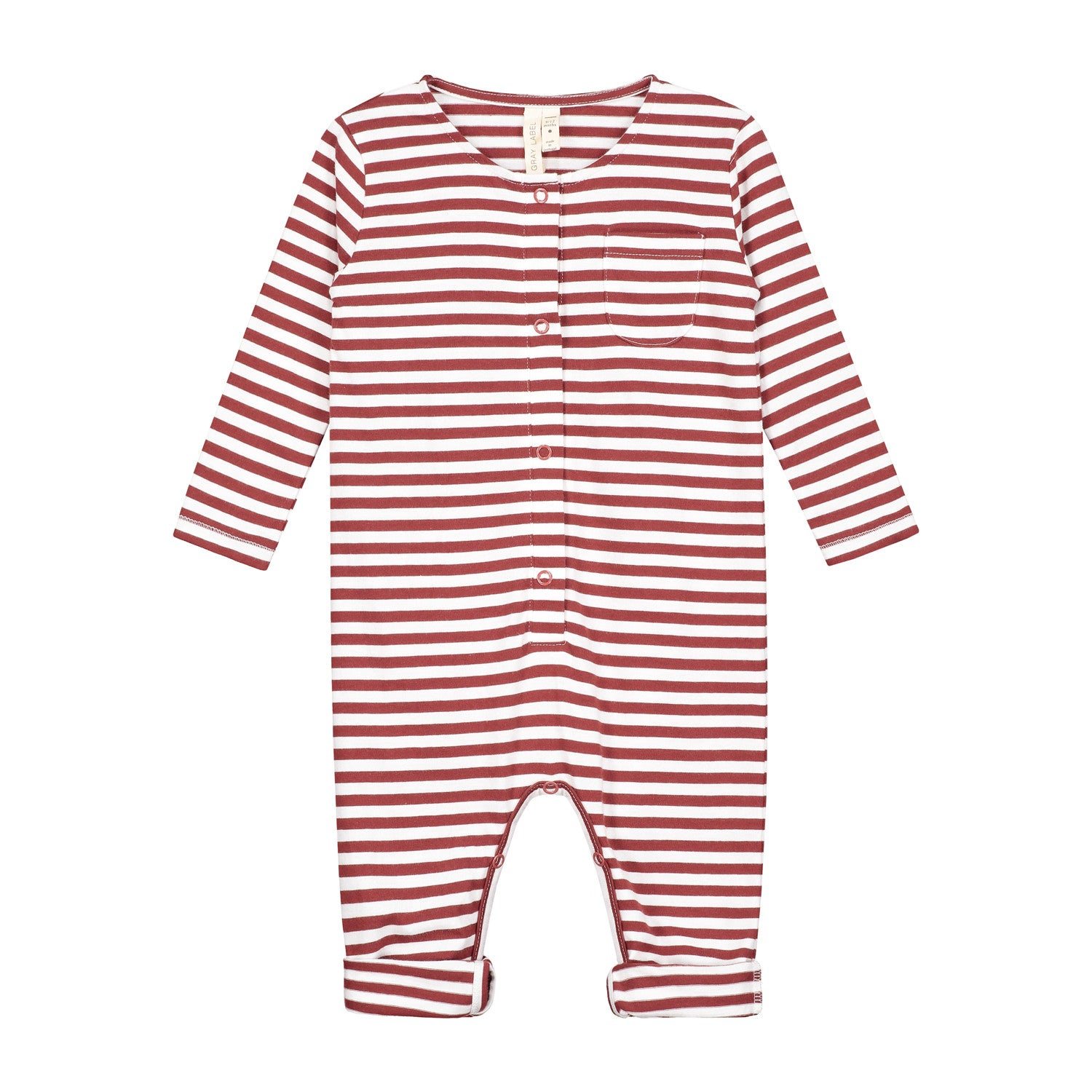 BABY L/S PLAYSUIT IN BURGUNDY/ WHITE STRIPES