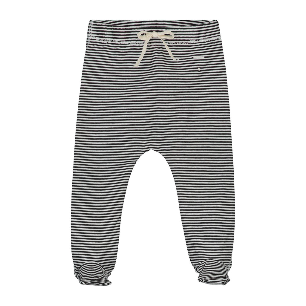 baby footies in nearly black|off white stripes