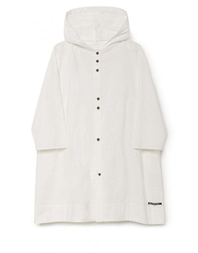 horizon hooded dress in white
