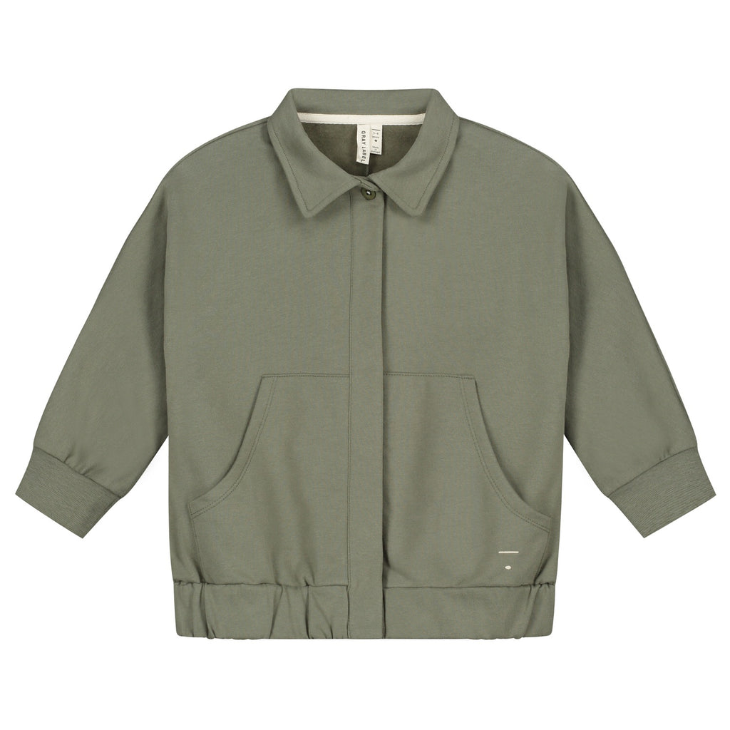 collar jacket in moss