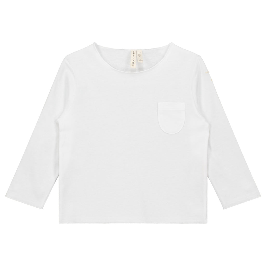 l|s pocket tee in white