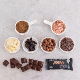 Astral ingredients dark vegan chocolate bar salted caramel crunch