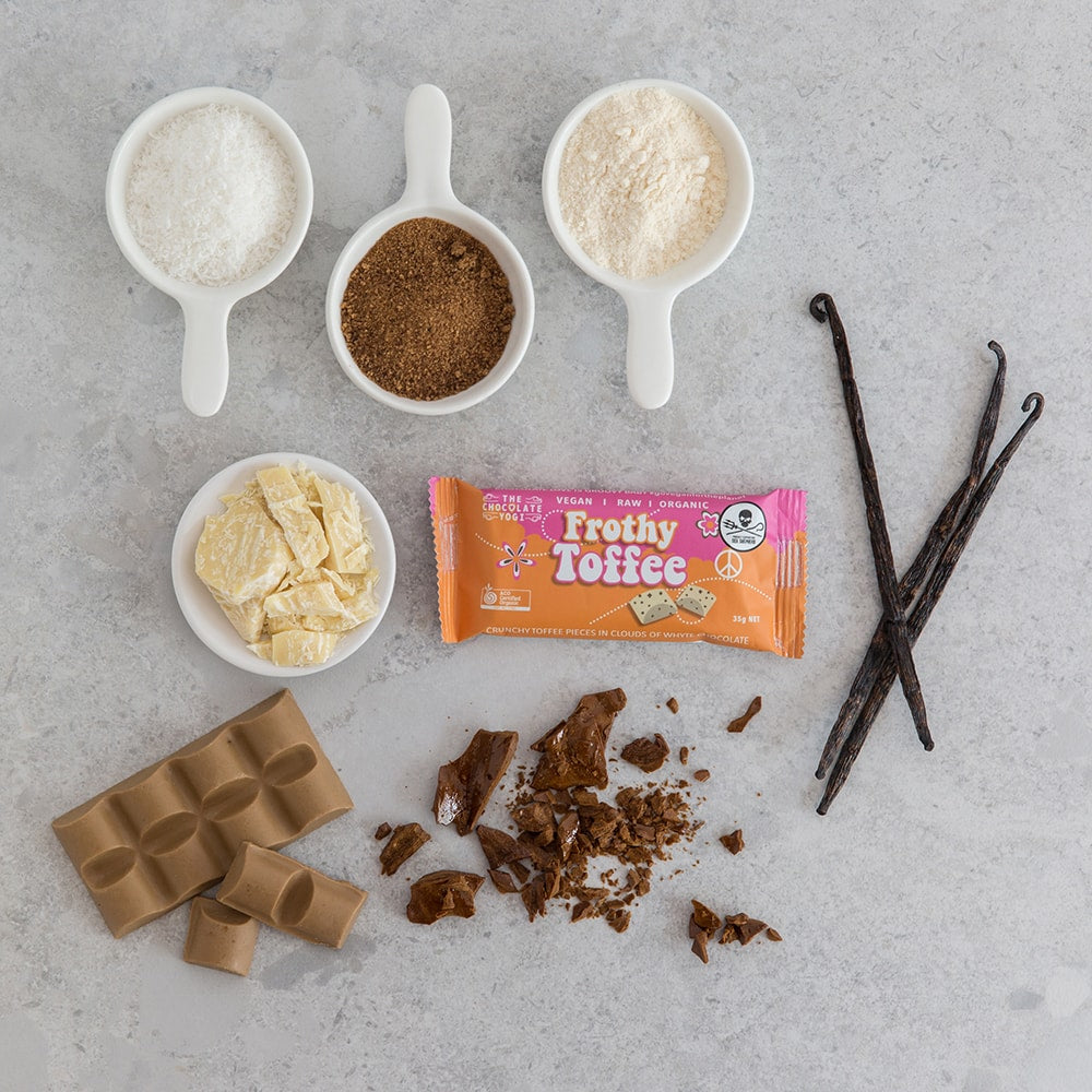 Frothy Toffee vegan chocolate white chocolate toffee crunch sugar free ingredients