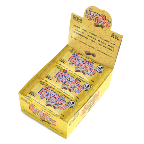 Hunny Bumbly Box (15x35g bar) Mylk Vegan Chocolate Hunnycomb