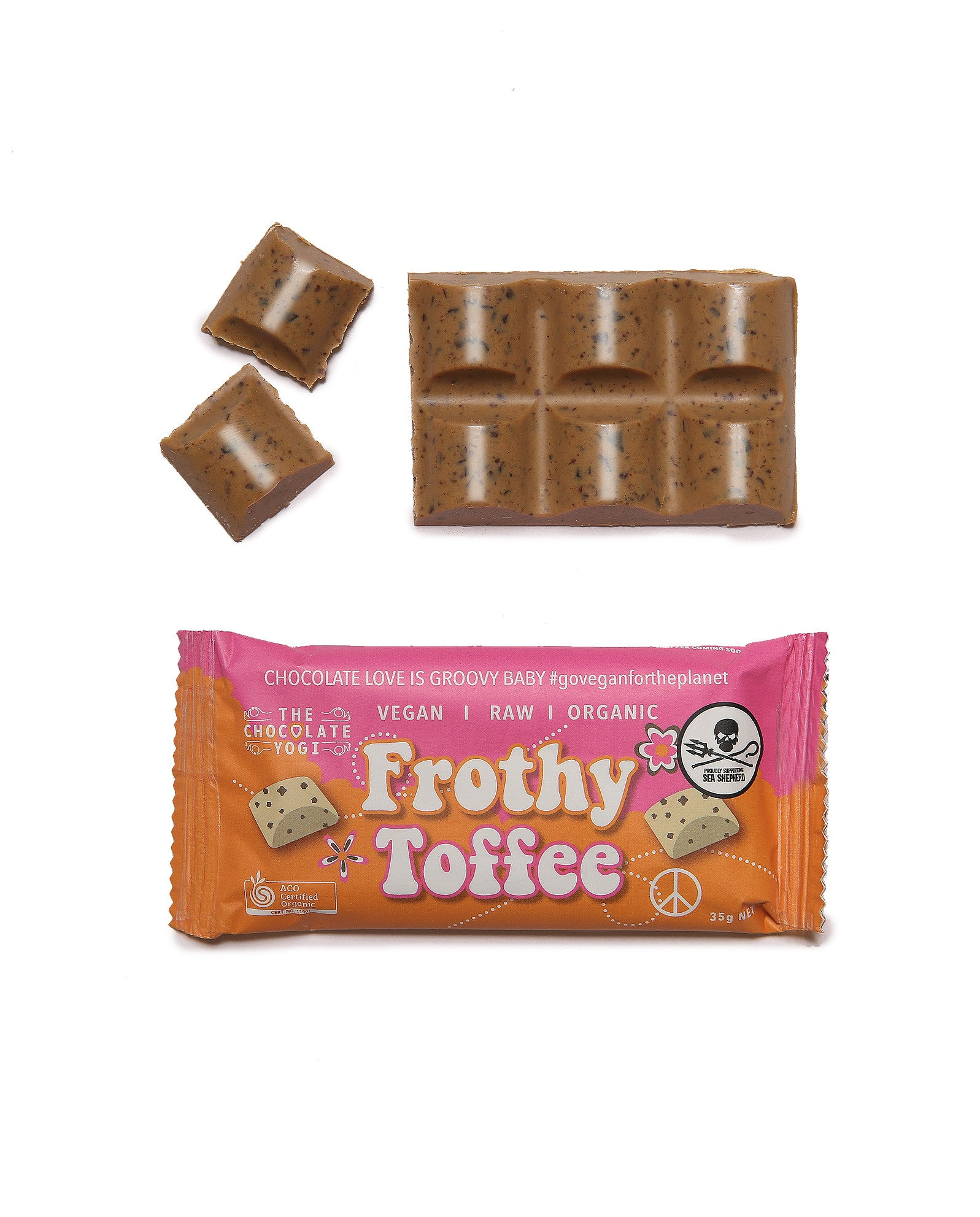 Frothy Toffee vegan chocolate white chocolate toffee crunch sugar free