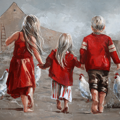 Three Children walking towards Farm building with some chickens in the background
