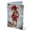 MGC14118 - Rooi hoed op die strand - Satin Smooth Greeting Card