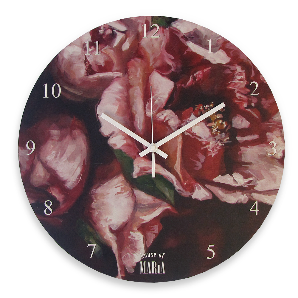 Wall Clock Large - Crimson in bloom