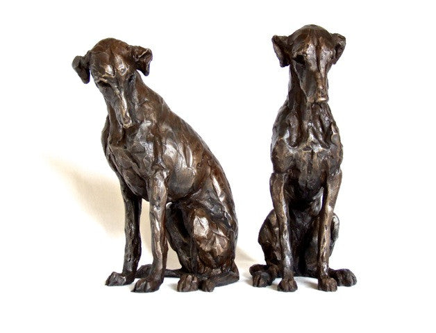 Sitting Lurcher, Bronze Resin