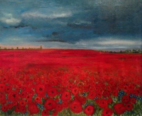 Poppies and Blue