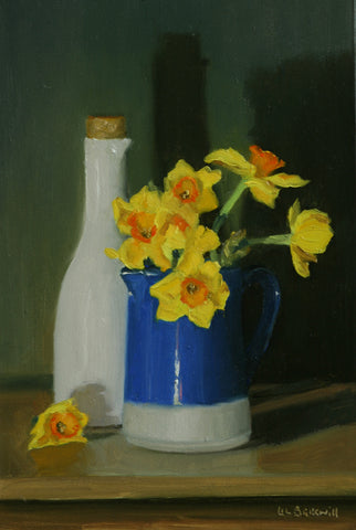Narcissi in Blue Jug & White Carafe