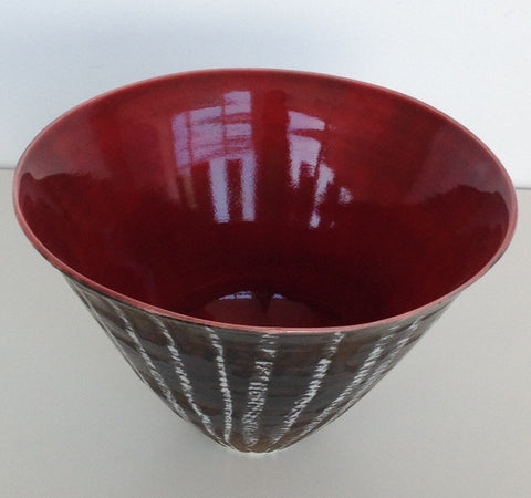 Small Porcelain Moonlit Birch Bowl, Red