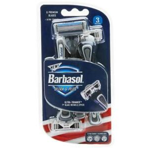 3 Barbasol Ultra 6 Premium Blade Disposable Razors