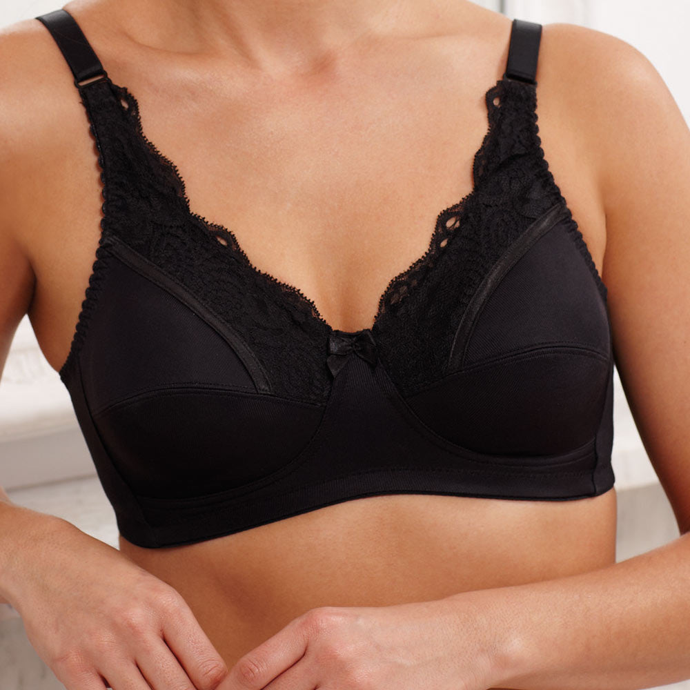 Jasmine Mastectomy Bra with Integral Pockets (Black)