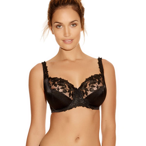 Belle Underwired Balcony Bra - White & Black