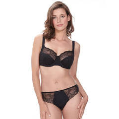New Estelle Side Support Bra & Brazilian Thong in Black
