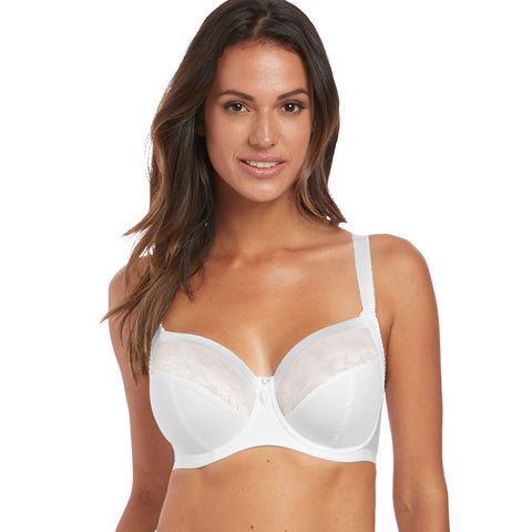 Illusion Full Cup Side Support Bra in White