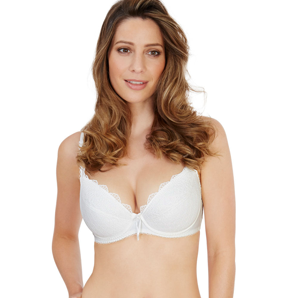 Fiesta Padded Plunge Bra in Ivory from Lepel