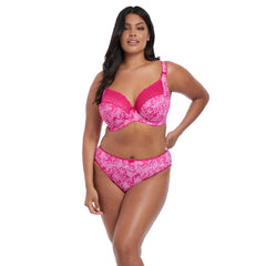 Kim Underwired Plunge Banded Bra and Brief in Pink Lace from Elomi Lingerie
