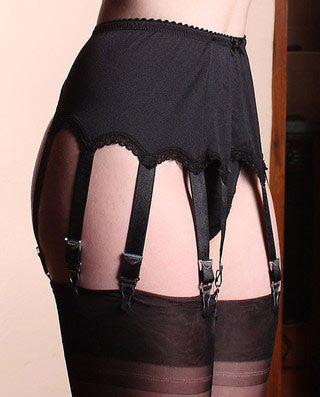 Satin Suspender Belt with 10 Metal Straps - Clips