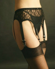 Six Strap All Over Lace Suspender Belt by Nylon Dreams