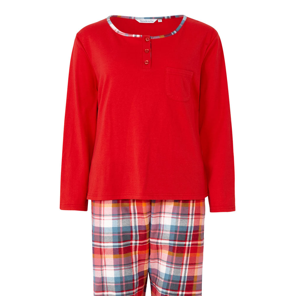 Slenderella Pyjama Set with Tartan Check Bottoms Red Top