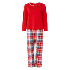 Slenderella Pyjama Set with Tartan Check Bottoms Red