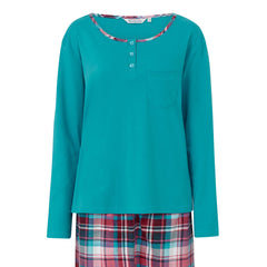 Slenderella Pyjama Set with Tartan Check Bottoms Turquoise Top