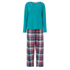 Slenderella Pyjama Set with Tartan Check Bottoms Turquoise