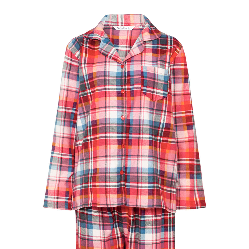 Slenderella Ladies Tartan Pyjama Red Top