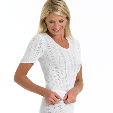 Fancy Knit Thermal Short Sleeve Camisole