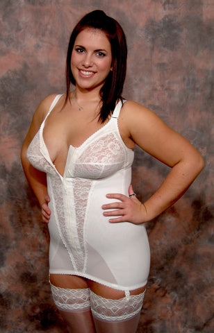 Open Zip Front Corselette (White)