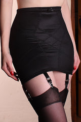 Retro and Lace High Waist Pull On Girdle with Metal Suspenders
