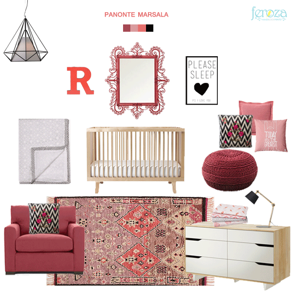 Marsala is a pretty difficult colour to incorporate in a nursery or kids rooms. Here is Feroza's mood board for Pantones colour of 2015 Marsala in the nursery